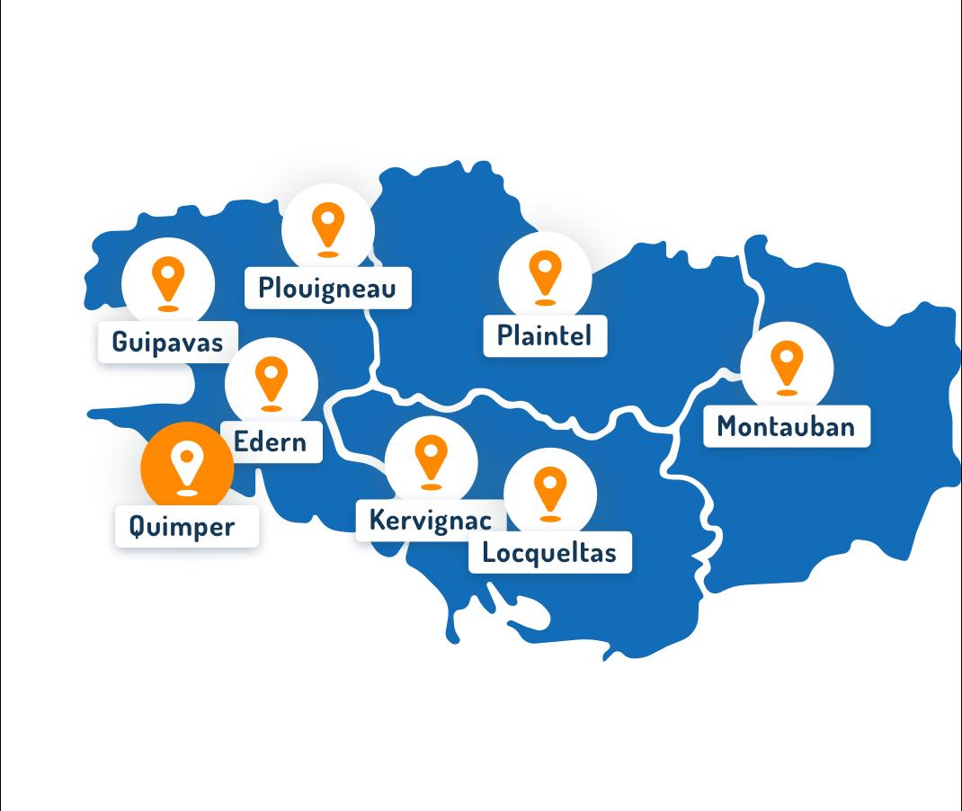 Carte des départements de la Bretagne